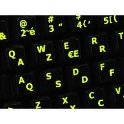 Glowing fluorescent French AZERTY English keyboard sticker