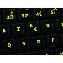 Glowing fluorescent French Belgian keyboard sticker