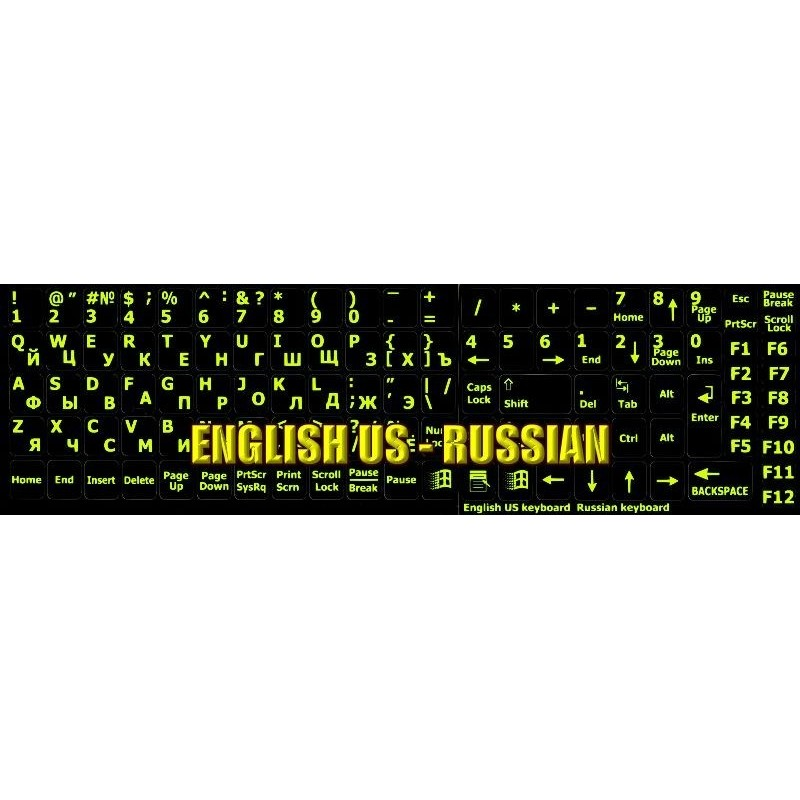 Russian keyboard stickers