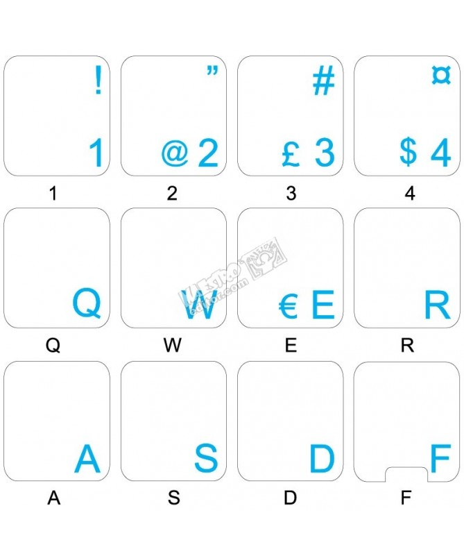 14X14 Dvorak UK Keyboard Labels ON Transparent Background with Blue Lettering