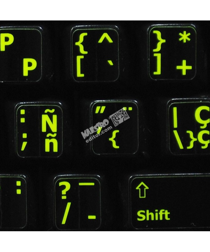78c24e0f8d2 Glowing fluorescent Spanish English keyboard sticker