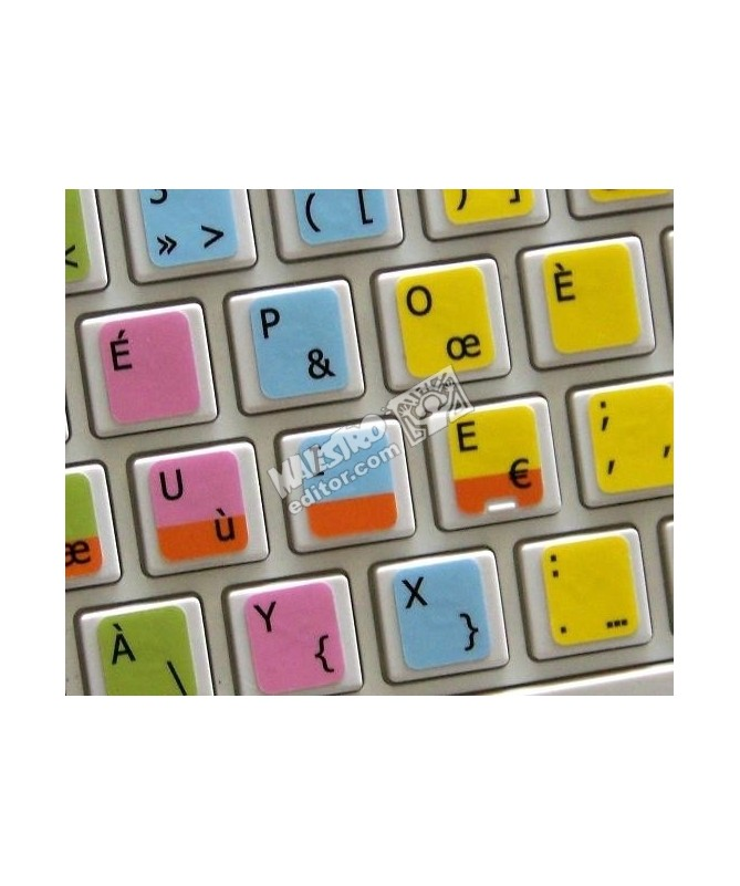 Learning French Bepo Colored Colored non transparent keyboard stickers